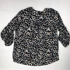 Cato 3/4 sleeves leopard print blouse plus size